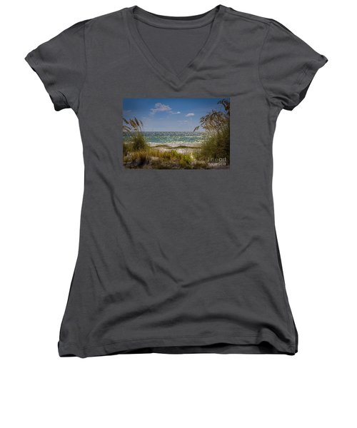 On A Clear Day Women's V-Neck T-Shirt (Junior Cut) by Marvin Spates