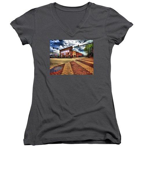 On Broadway Women's V-Neck T-Shirt (Junior Cut) by Robert McCubbin