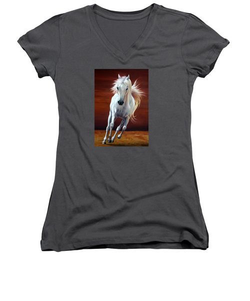 On Fire Women's V-Neck T-Shirt (Junior Cut) by Vivien Rhyan
