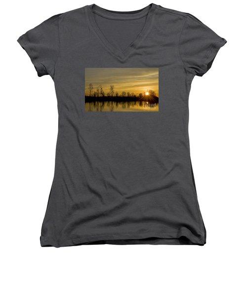Women's V-Neck T-Shirt (Junior Cut) featuring the photograph On Golden Pond by Nick  Boren