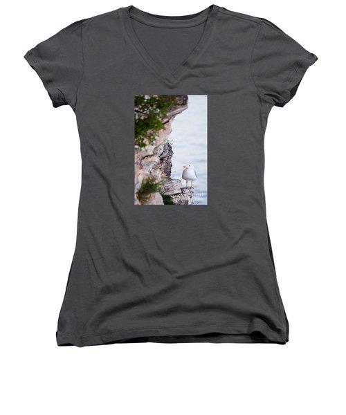 On The Cliffs Of Rocca Di Manerba Women's V-Neck T-Shirt (Junior Cut) by Simona Ghidini