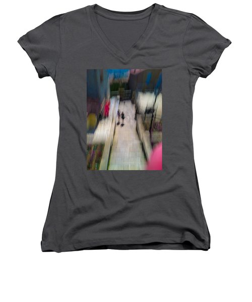 Women's V-Neck T-Shirt (Junior Cut) featuring the photograph On The Stairs by Alex Lapidus