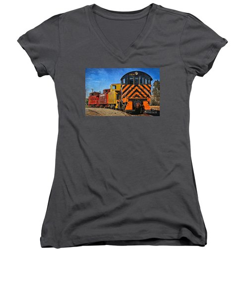 On The Tracks Women's V-Neck T-Shirt (Junior Cut) by Peggy Hughes
