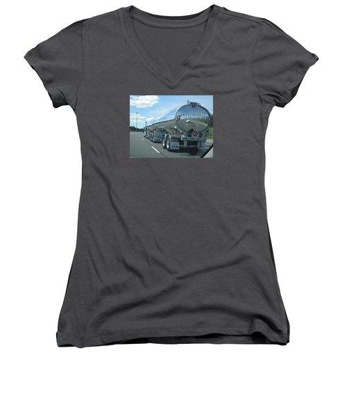 Women's V-Neck T-Shirt (Junior Cut) featuring the photograph On The Way by Jieming Wang