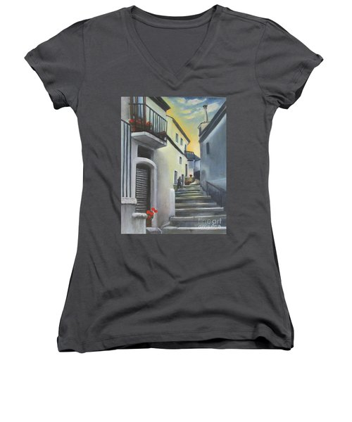 On The Way To Mamma's House In Castelluccio Italy Women's V-Neck T-Shirt (Junior Cut) by Lucia Grilletto