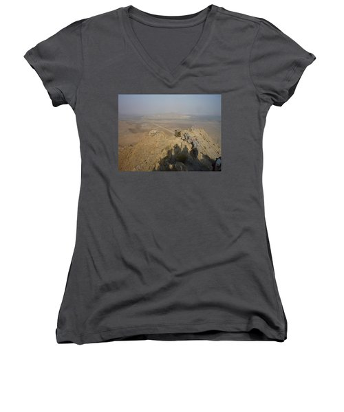 On Top Of A Mountain Women's V-Neck (Athletic Fit)