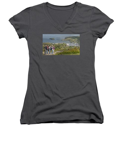 On Top Of Mount Battie Women's V-Neck T-Shirt (Junior Cut) by Daniel Hebard