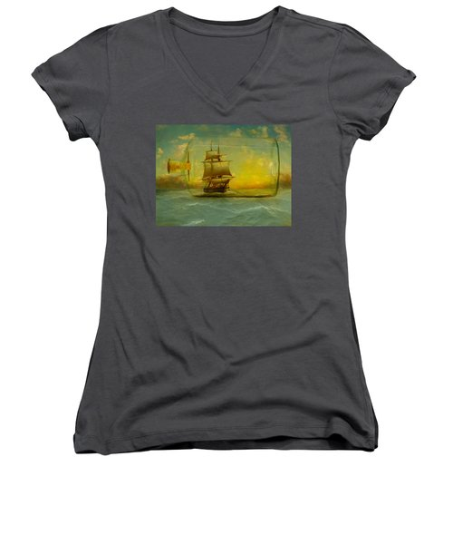 Once In A Bottle Women's V-Neck T-Shirt (Junior Cut) by Jeff Burgess