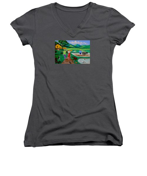 Women's V-Neck T-Shirt (Junior Cut) featuring the painting One Beautiful Morning In The Farm by Lorna Maza
