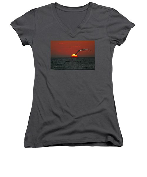 Women's V-Neck T-Shirt (Junior Cut) featuring the photograph One Black Skimmers At Sunset by Tom Janca