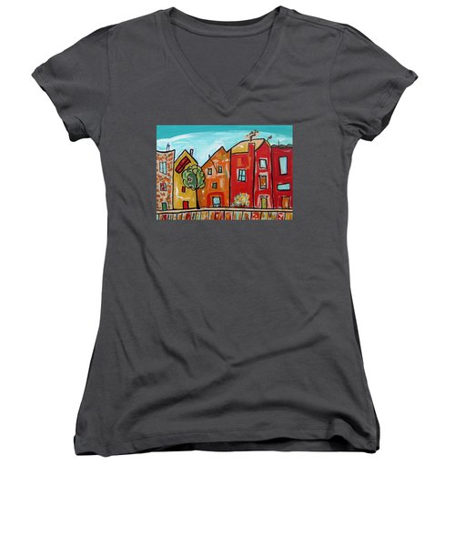 One House Has A Screen Door Women's V-Neck T-Shirt (Junior Cut) by Mary Carol Williams