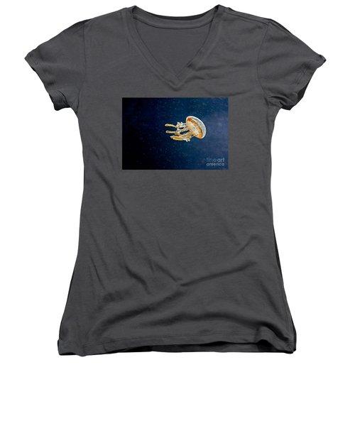 One Jelly Fish Art Prints Women's V-Neck T-Shirt (Junior Cut) by Valerie Garner