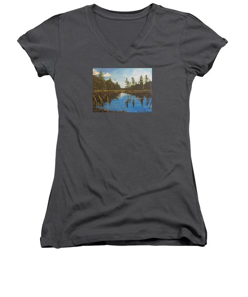 Women's V-Neck T-Shirt (Junior Cut) featuring the painting O'neal Lake by Wendy Shoults