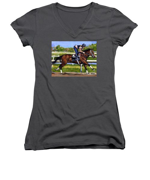 Women's V-Neck T-Shirt (Junior Cut) featuring the painting Onlyforyou by Molly Poole