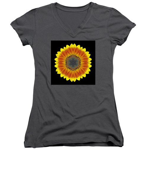 Orange And Yellow Sunflower Flower Mandala Women's V-Neck (Athletic Fit)