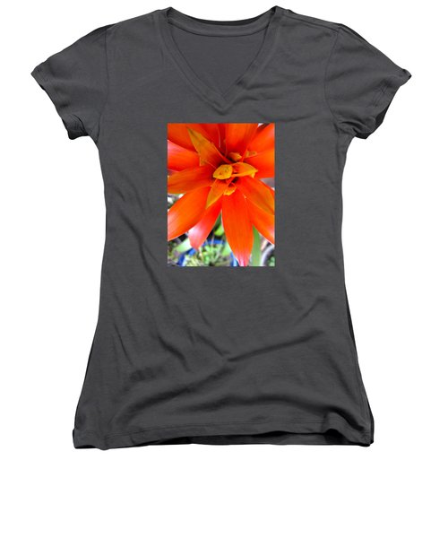 Orange Bromeliad Women's V-Neck T-Shirt (Junior Cut) by Lehua Pekelo-Stearns