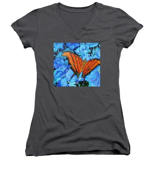 Orange Butterfly Women's V-Neck T-Shirt