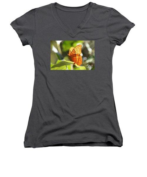 Orange Butterfly Women's V-Neck