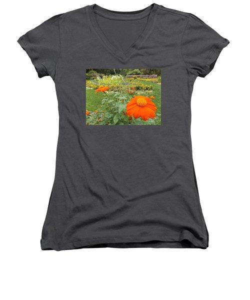 Orange Flower Women's V-Neck (Athletic Fit)