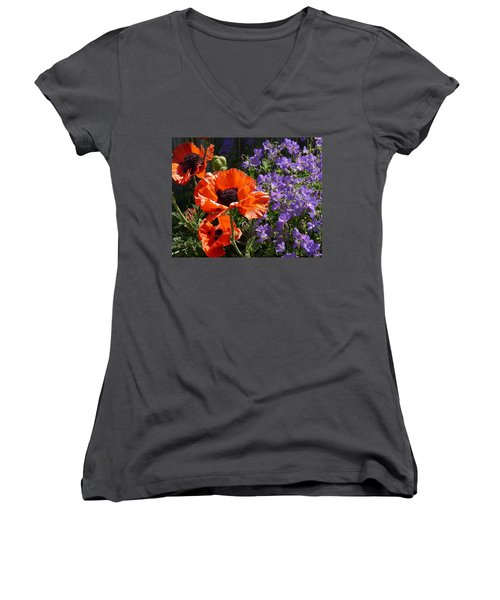 Orange Flowers Women's V-Neck T-Shirt (Junior Cut) by Alan Socolik