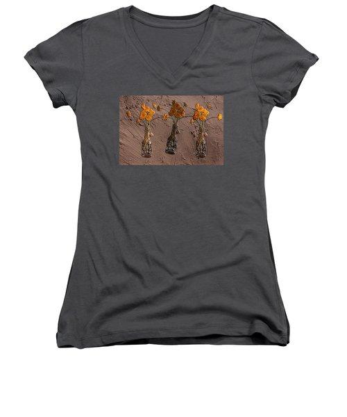 Orange Flowers Embedded In Adobe Women's V-Neck T-Shirt