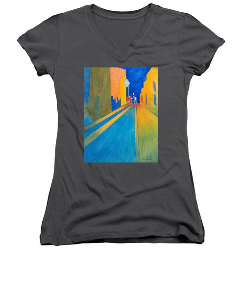 Orange France At Night Women's V-Neck T-Shirt (Junior Cut) by Lee Beuther