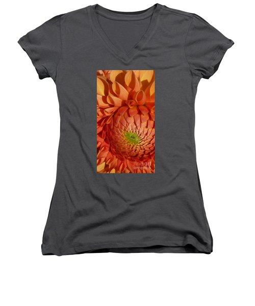 Orange Sherbet Delight Dahlia Women's V-Neck T-Shirt (Junior Cut) by Susan Garren