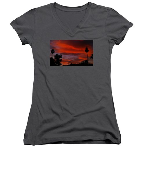 Women's V-Neck T-Shirt (Junior Cut) featuring the photograph Orange Sky by Chris Tarpening
