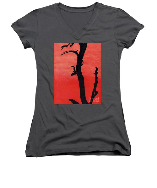 Women's V-Neck T-Shirt (Junior Cut) featuring the drawing Orange Sunset Silhouette Tree by D Hackett