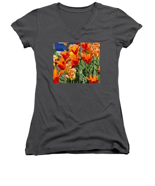 Orange Tulips Women's V-Neck (Athletic Fit)
