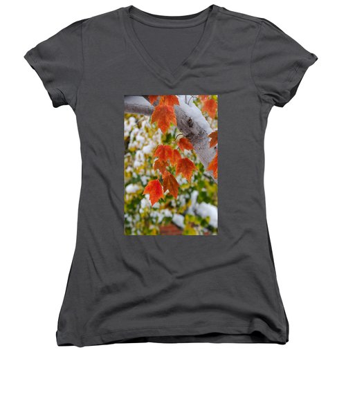 Women's V-Neck T-Shirt (Junior Cut) featuring the photograph Orange White And Green by Ronda Kimbrow