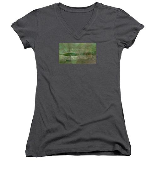Women's V-Neck T-Shirt (Junior Cut) featuring the photograph Orchard Orbweaver #2 by Paul Rebmann