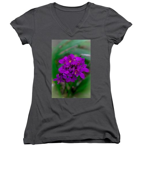 Orchid In Motion Women's V-Neck T-Shirt