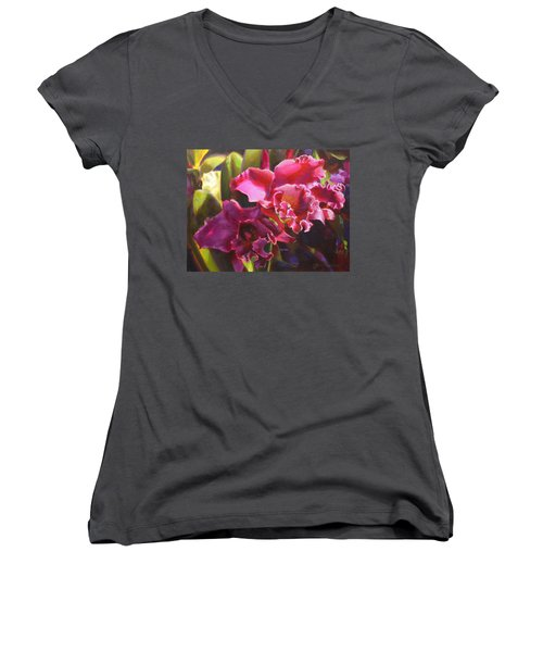 Orchids In Magenta Women's V-Neck