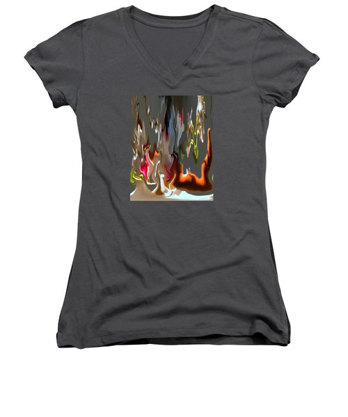 Organic Impressions 1 Women's V-Neck T-Shirt (Junior Cut) by Cedric Hampton