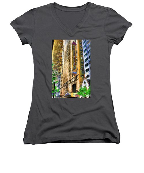 Oriental Theater Of Chicago Women's V-Neck T-Shirt (Junior Cut) by Ely Arsha