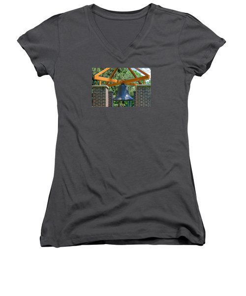 Women's V-Neck T-Shirt (Junior Cut) featuring the photograph Original Fire Bell From The Superior Fire Dept In Wisconsin  1892  by Susan  McMenamin