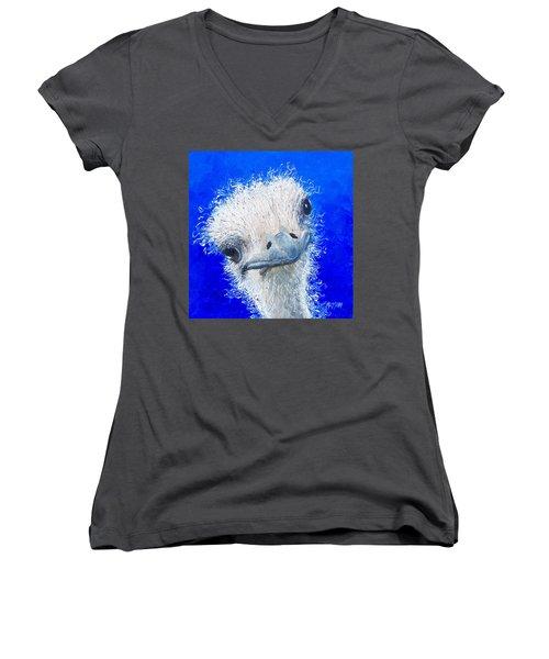 Ostrich Painting 'waldo' By Jan Matson Women's V-Neck T-Shirt (Junior Cut) by Jan Matson