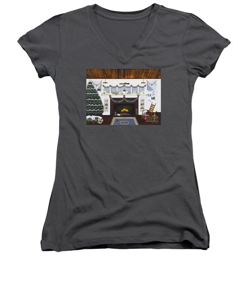 Women's V-Neck T-Shirt (Junior Cut) featuring the painting Our First Holiday by Jennifer Lake