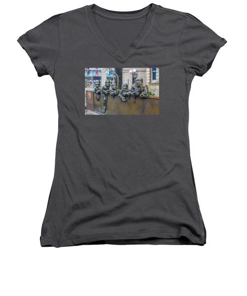 Our Game Women's V-Neck T-Shirt (Junior Cut) by Guy Whiteley