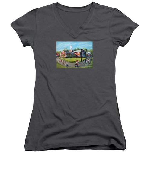 Our Time At Bentley University Women's V-Neck T-Shirt (Junior Cut) by Rita Brown