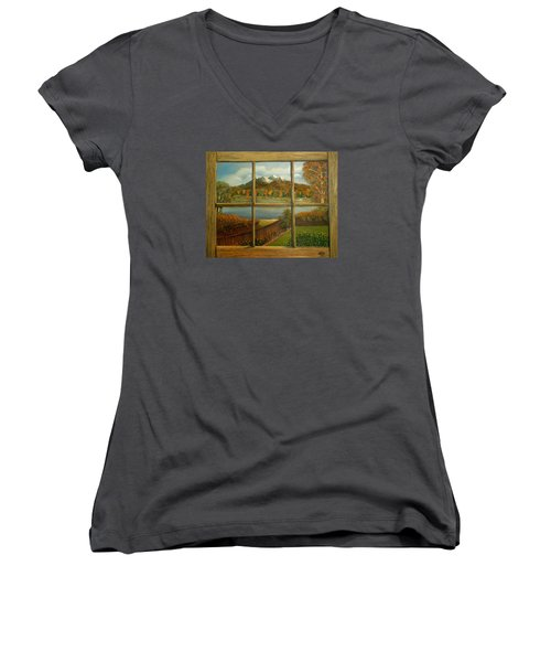 Women's V-Neck T-Shirt (Junior Cut) featuring the painting Out My Window-autumn Day by Sheri Keith