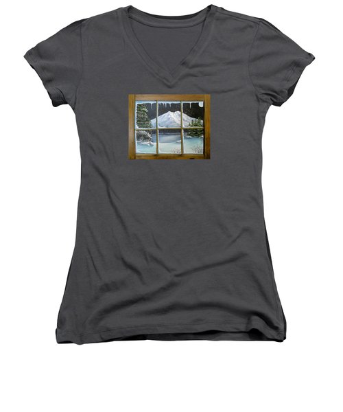Women's V-Neck T-Shirt (Junior Cut) featuring the painting Out My Window-bright Winter's Night by Sheri Keith
