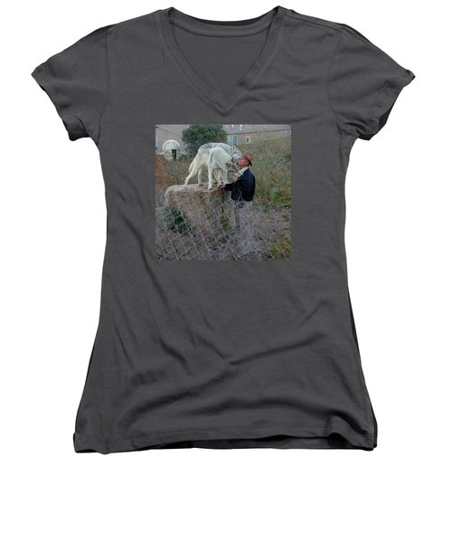 Out Of Africa  Friendly Wolves Women's V-Neck (Athletic Fit)