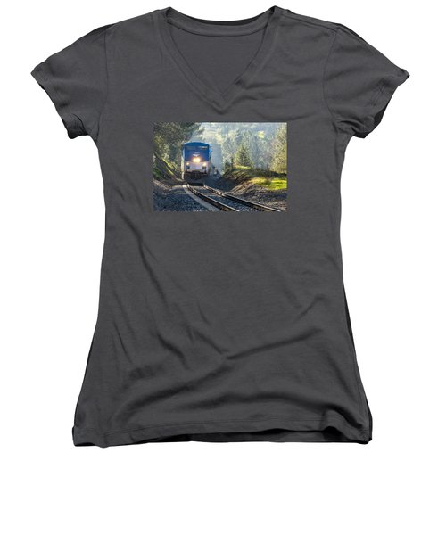 Out Of The Mist Women's V-Neck T-Shirt (Junior Cut) by Jim Thompson