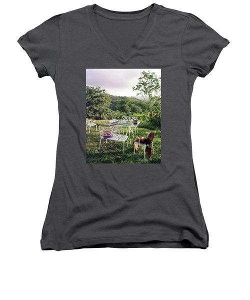 Outdoor Furniture By Lloyd On Grassy Hillside Women's V-Neck
