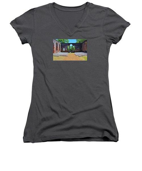Outside Wedding Women's V-Neck T-Shirt (Junior Cut) by Cynthia Guinn