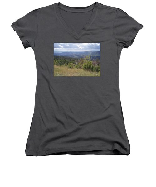 Women's V-Neck T-Shirt (Junior Cut) featuring the photograph Overlook Into The Mist by Fortunate Findings Shirley Dickerson