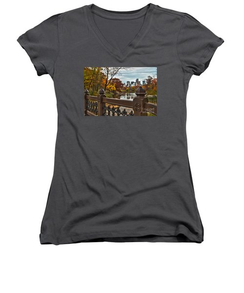 Overlooking The Lake Central Park New York City Women's V-Neck (Athletic Fit)