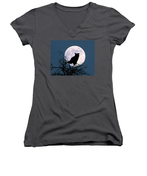 Owl And Blue Moon Women's V-Neck (Athletic Fit)
